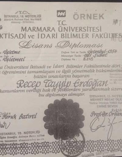 İşte YSK'nın gönderdiği Cumhurbaşkanı Erdoğan'ın diploması
