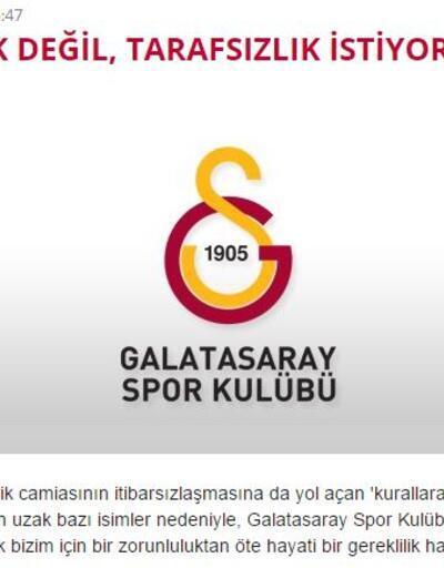 Galatasaray: Ayrıcalık değil tarafsızlık istiyoruz