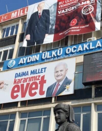 Aydın'da Ülkü Ocakları binasına Binali Yıldırım pankartı asıldı