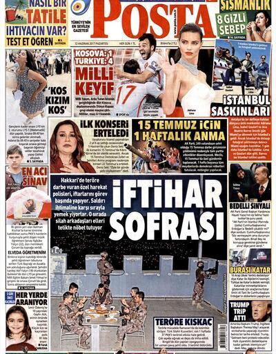 12 Haziran 2017 - Gazetelerin manşetleri