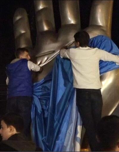 Düzce'ye dikilen Rabia Heykeli'ne ülkücülerden tepki