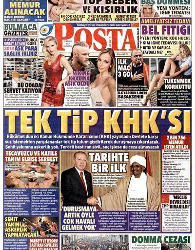 25 Aralık 2017 - Gazetelerin birinci sayfaları