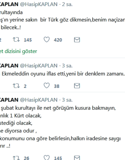 Hasip Kaplan istifa etti