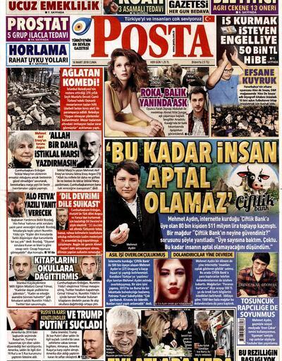 16 Mart 2018 - Gazete manşetleri