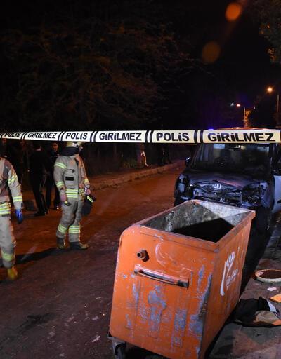 Çöp konteynerinden sıçrayan alevler bir otomobili yaktı