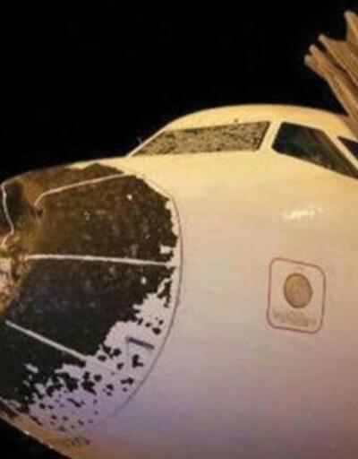 Havada dehşet dakikaları! Uçak dolu fırtınasına yakalandı