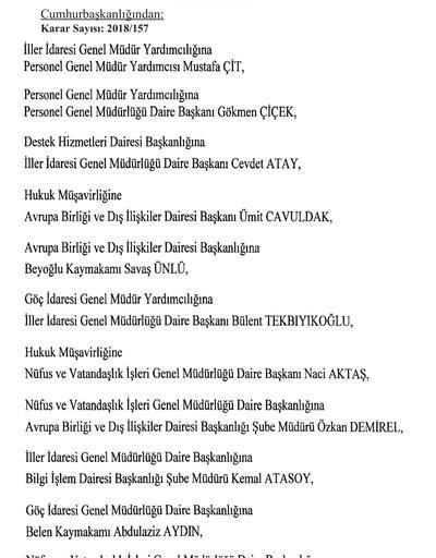 İşte görev yerleri değiştirilen mülki idare amirleri listesi