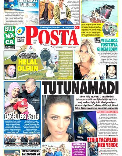 6 Kasım 2018 - Gazetelerin birinci sayfaları
