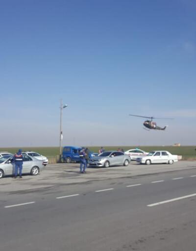 Aksaray'da Jandarma'dan helikopter destekli trafik kontrolü