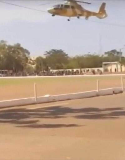 Kutlamalar için iniş yapan helikopter, gösteri alanına düştü
