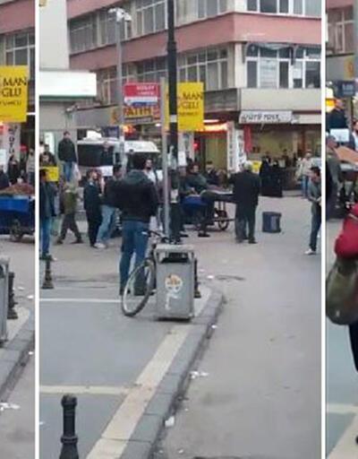 Seyyar satıcıların sopalı kavgası kamerada