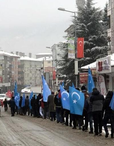 Çin'i protesto için İstanbul'dan yürüyenler, Kızılcahamam'da