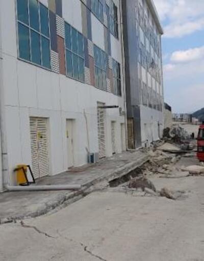 Karabük'te hastane bahçesindeki çökme sonrası zemin etüt çalışması