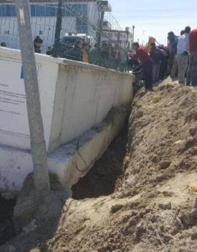 Çöken istinat duvarının altında kalan 4 işçi yaralı kurtarıldı