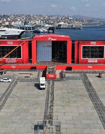 Cumhur İttifakı'nın Yenikapı'da yapacağı miting alanında hazırlıklar sürüyor