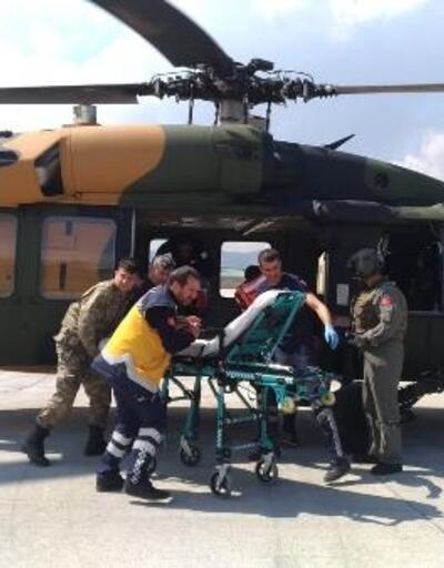 Barajda yaralanan işçi, hastaneye askeri helikopterle ulaştırıldı