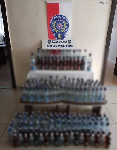 Kızılcahamam'da 253 şişe sahte içki ele geçirildi