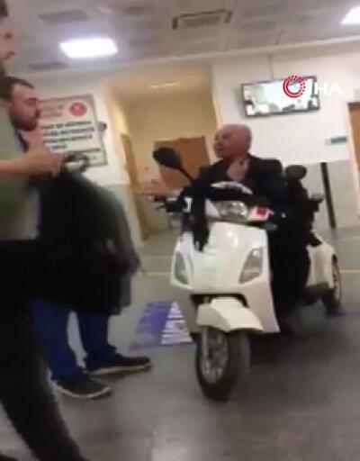 Hastaneye motosikletle girdi
