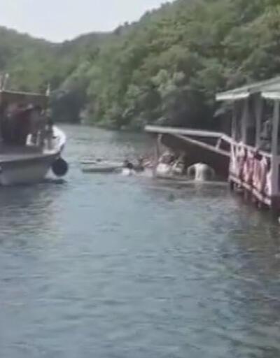 Şile Saklıgöl'de çardak çöktü, vatandaşlar göle düştü