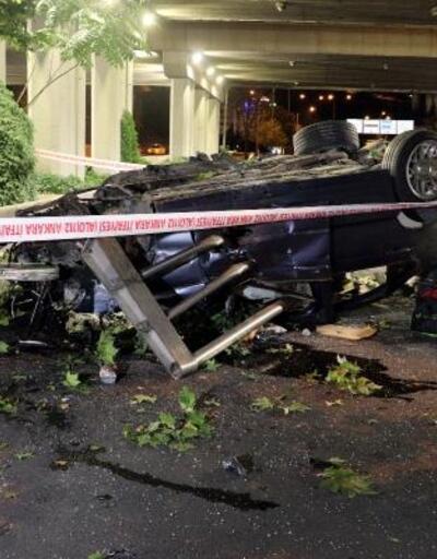 Ankara'da otomobil üst geçitten alt yola düştü: 1 ölü, 2 yaralı