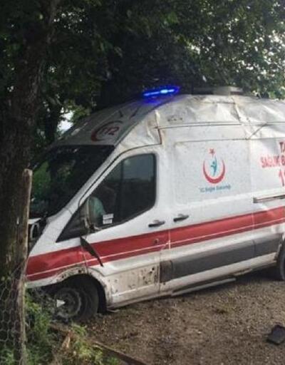 Ambulans, yol kenarındaki ağaçlara çarptı: 5 yaralı