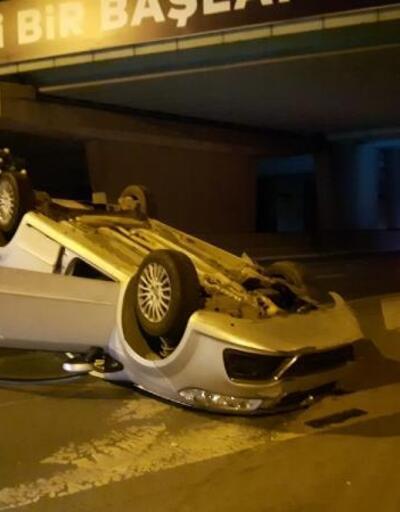 Bayrampaşa'da otomobil takla attı: 1 yaralı