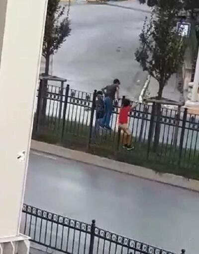 Üst geçidi kullanmayan çocuğa dayak kamerada