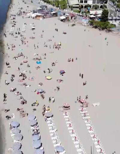 Bayramın son günü plajlar tıklım tıklım
