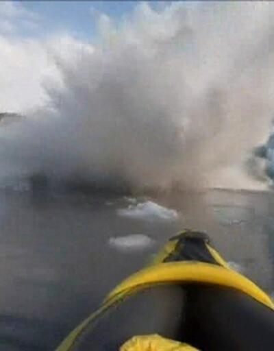 Alaska'daki dev dalga kanocuları yutuyordu