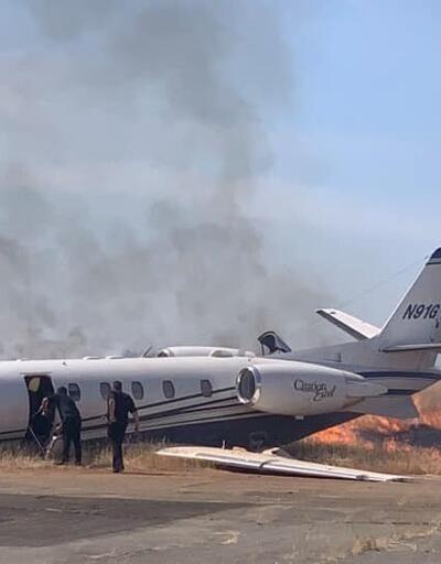 California'da özel jet kalkış sırasında alev aldı