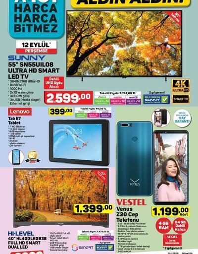 A101 aktüel indirimli ürünler (12 Eylül Perşembe) Telefon ve TV sürprizi
