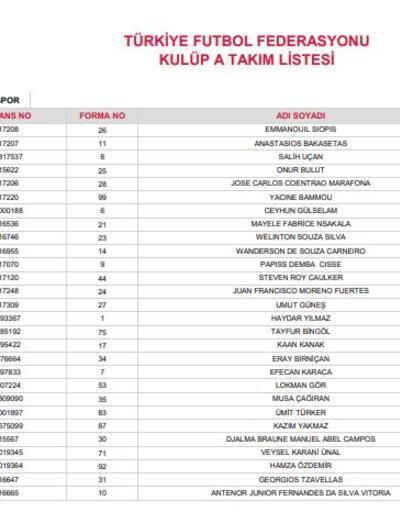 Süper Lig ekiplerinin 28 kişilik kadroları belli oldu