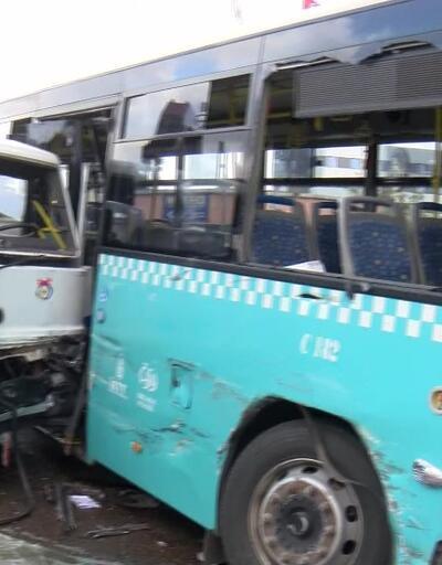 Son dakika... Ümraniye'de vinç yüklü kamyon otobüse çarptı