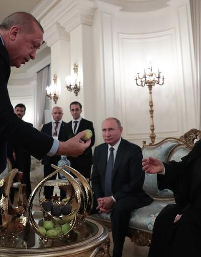 Tarihi zirvede dikkat çeken kareler: Erdoğan'dan Putin ve Ruhani'ye incir ikramı