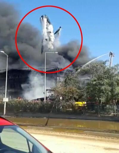 Tuzla'da yangın bölgesindeki patlama anı kamerada