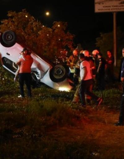 Kaldırıma çarpan otomobil takla attı, anne-baba-kız yaralandı