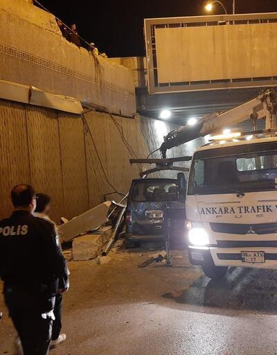Ankara'da minibüs alt geçide düştü: Yaralılar var