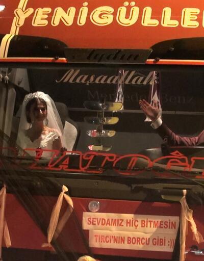 Düğün salonuna TIR'la geldiler