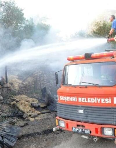 Suşehri'nde samanlık yangını