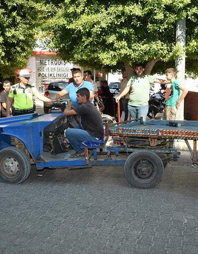Polisi şaşırtan at arabası trafikten men edildi