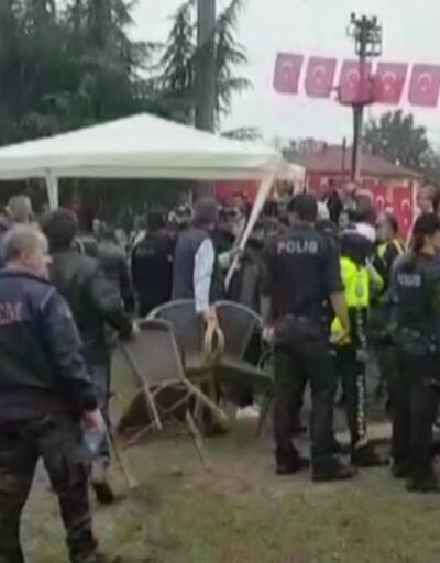 Polisle eylemciler arasında arbede