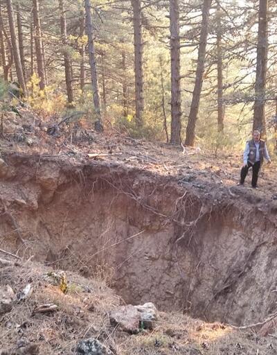Spil Dağı'nda obruk oluştu