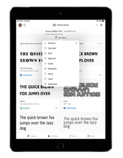 Adobe font kütüphanesini iPhone ve iPad kullanıcılarına açtı