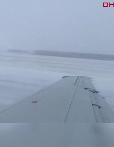 Uçak pistten böyle çıktı