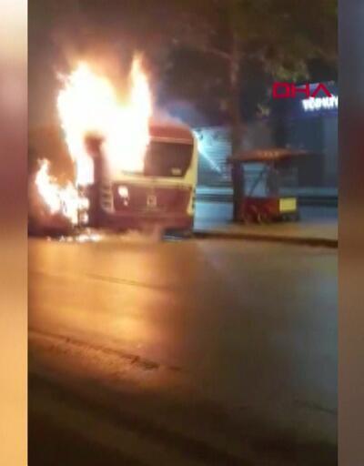 Belediye otobüsü alevler içinde kaldı