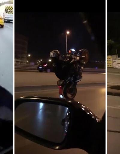 Motosikletli maganda trafiği birbirine kattı