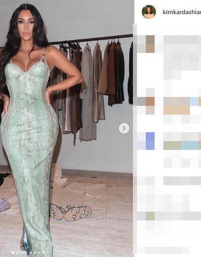 Kim Kardashian elbiseye zor sığdı
