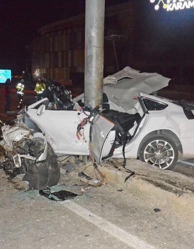 Karaman'da yön levhasına çarpan otomobilin sürücüsü yaralandı