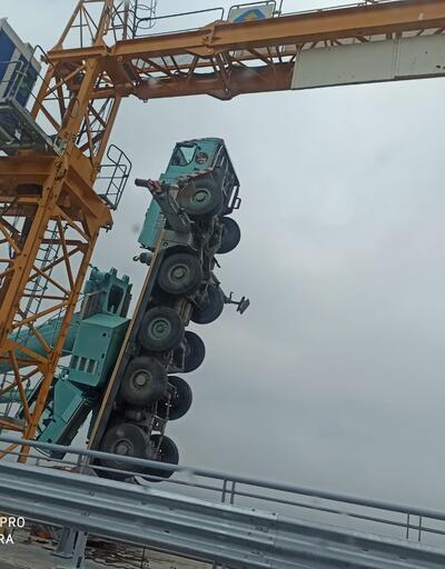 Türkiye'nin en uzun köprüsünün inşaatında akılalmaz kaza