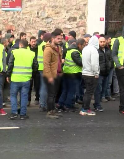 Metro inşaatı işçilerinden eylem